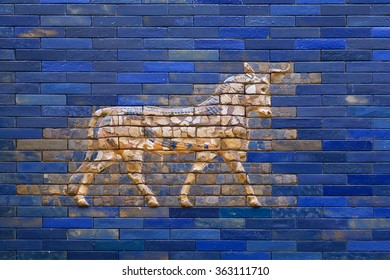 BERLIN, GERMANY - SEPT 2, 2015: Aurochs from blue Ishtar Gate of Babylon, constructed in about 575 BC. on Septemper 2, 2015. Artifact of Iraq saved by Pergamon Museum in Berlin