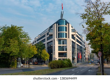BERLIN, GERMANY - SEPTEMBER 07, 2014: Beautiful shot of the Willy Brandt Haus, the headquarters building of the social democratic party of Germany, SPD, in Berlin.