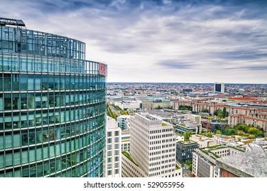 BERLIN, GERMANY - SEPTEMBER 07, 2016: Aerial view of Berlin