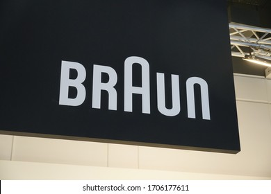 Berlin, Germany - September 10, 2019: Banner of Braun GmbH, formerly Braun AG, German consumer products company focusing on its core categories: shaving and grooming, beauty and hair care