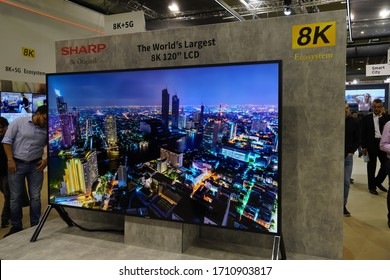 Berlin, Germany - September 10, 2019: Exhibition stand presenting the world's largest 8K Ecosystem LCD by Sharp