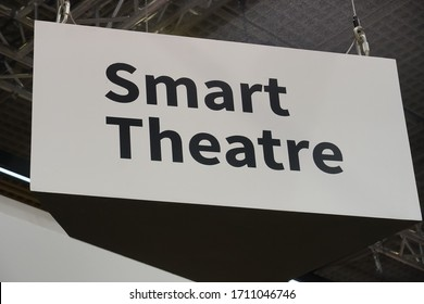 Berlin, Germany - September 10, 2019: White signage with the written text ´Smart Theatre´