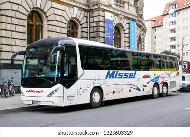 Berlin, Germany - September 12, 2013: Touristic coach bus Neoplan N3516/3UL Trendliner in the city street.