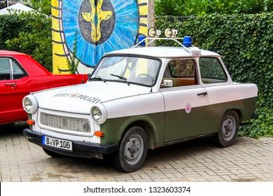 Berlin, Germany - September 12, 2013: Retro motor car Trabant 601 in the city street.