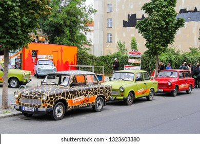 Berlin, Germany - September 12, 2013: Retro motor cars Trabant 601 in the city street.