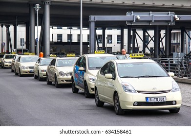 BERLIN, GERMANY - SEPTEMBER 12, 2013: Parking of the taxis at the Berlin Railway Station.