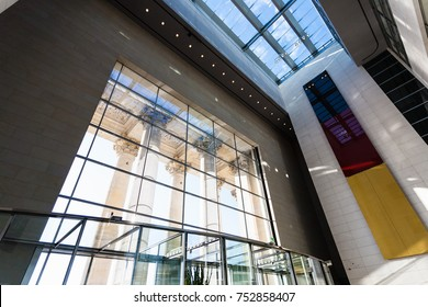 BERLIN, GERMANY - SEPTEMBER 13, 2017: windows and interior of Reichstag building in Berlin city. Reichstag dome is a glass dome on top of Reichstag building, it was designed by architect Norman Foster