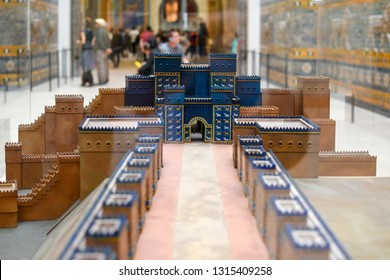 Berlin, Germany - September 13 2018: A small scale reproduction model exhibit of the Processional Way and the ancient Gates of Ishtar Babylon exhibit in the Pergamon Museum in Berlin Germany