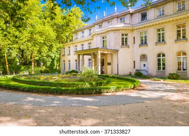 BERLIN, GERMANY - SEPTEMBER 17, 2014: The Wannsee House. The villa was used by senior members of the Nazi party as a conference center for the implementation of the Holocaust.