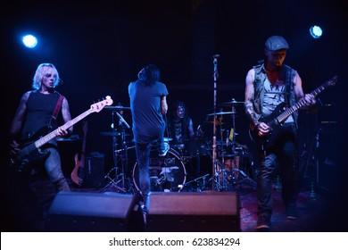 Berlin, Berlin / GERMANY September 17, 2016: Rock band Eyes Shut Tight, from Hamburg, Germany, concert in Berlin Hanger 49 club. Vocalist Dirk Wieczorek, guitar player john and bass guitar player kai