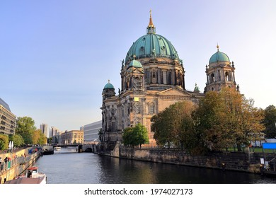 Berlin, Germany - September 17, 2020: Visiting the Berlin Cathedral at Museum Island on a sunny day in September.
