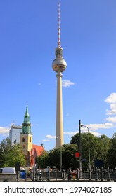 Berlin, Germany - September 17, 2020: Visiting the Berlin TV Tower on a sunny day in September.