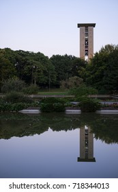 BERLIN, GERMANY - SEPTEMBER 18, 2017: view of the Carillon in the Tiergarten district of Berlin, mirrored in one of the reflecting pools in front of the Haus der Kulturen der Welt.