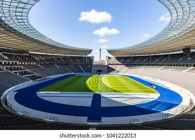 BERLIN, GERMANY - SEPTEMBER 20, 2017: Panoramic view of Olympiastadion (Olympic Stadium) in Berlin seen before German Bundesliga game Hertha BSC Berlin v Bayer 04