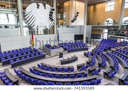 BERLIN, GERMANY - SEPTEMBER 20, 2017: Interior of Plenary Hall (meeting room) of German Parliament (Deutscher Bundestag). Building and Meeting room available for public between plenary sessions