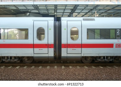 BERLIN, GERMANY - SEPTEMBER 2016: Junction between to InterCity Express train cars at a station in Berlin, Germany in September 2016.