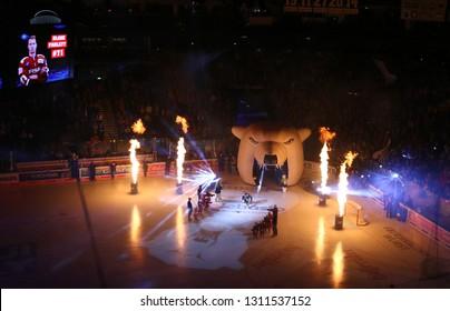 BERLIN, GERMANY - SEPTEMBER 22, 2017: Starting performance and Light Show on the ice of Mercedes-Benz Arena in Berlin before the Deutsche Eishockey Liga (DEL) game Eisbaren Berlin v Kolner Haie