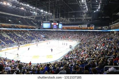 BERLIN, GERMANY - SEPTEMBER 22, 2017: Panoramic view of Mercedes-Benz Arena in Berlin during the Deutsche Eishockey Liga (DEL) game between Eisbaren Berlin and Kolner Haie. Eisbaren won 3-2