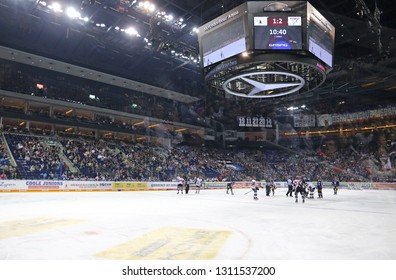BERLIN, GERMANY - SEPTEMBER 22, 2017: Panoramic view of Mercedes-Benz Arena in Berlin during the Deutsche Eishockey Liga (DEL) game between Eisbaren Berlin and Kolner Haie. Eisbaren won 3-2
