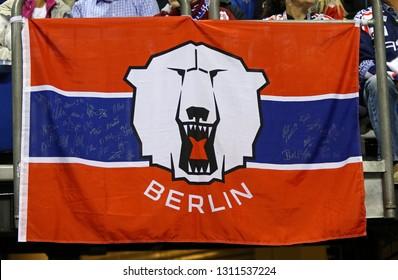 BERLIN, GERMANY - SEPTEMBER 22, 2017: Eisbaren Berlin team flag on tribunes of Mercedes-Benz Arena during the Deutsche Eishockey Liga (DEL) game Eisbaren Berlin v Kolner Haie