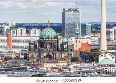 Berlin, Germany - September 22, 2017: Classic aerial view of Berlin skyline with famous TV tower (Fernsehturm) at Alexanderplatz and Berliner Dom. Summer sunny day, central Berlin Mitte