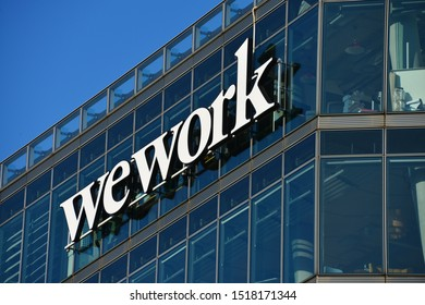 Berlin / Germany - September 22, 2019: The wework logo in Berlin, Germany - wework is a global network of workspaces for freelancers, startups an small business