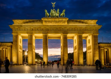 BERLIN, GERMANY - SEPTEMBER 23, 2015: Famous Brandenburg Tor one of the most famous monuments and national symbols of Germany