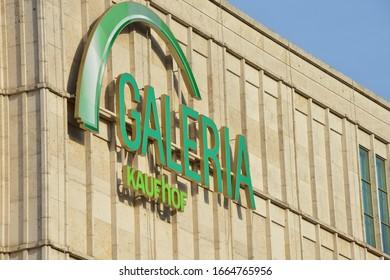 Berlin / Germany - September 23, 2019: Logo of Galeria Kaufhof in Berlin, Germany - Kaufhof is a German department store chain