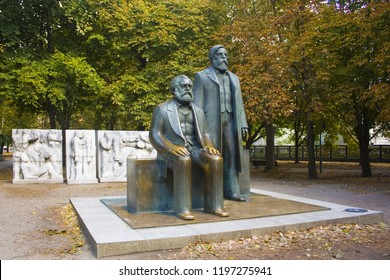 BERLIN, GERMANY - September 25, 2018: Monument to Karl Marx and Friedrich Engels located in downtown Berlin as a relict of the former German Democratic Republic