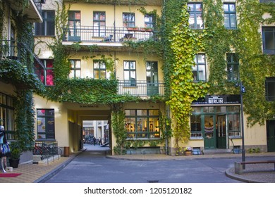 BERLIN, GERMANY - September 25, 2018: Hacke's Courtyards (Hackesche Hofe) - series of courtyards joined together to one large complex with multiple uses