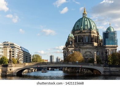 Berlin, Germany - September 25, 2018: View of the Berliner Dom and Friedrichs Bridge from the embankment of the river Spree