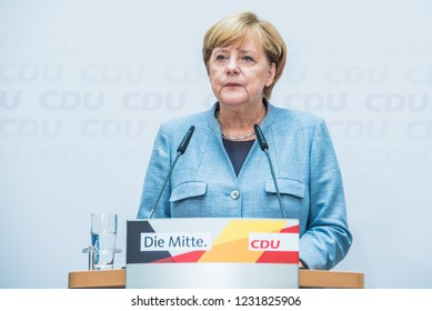 Berlin, Germany - September 25th 2017: The day after the national elections. Merkel is speaking about her election win.