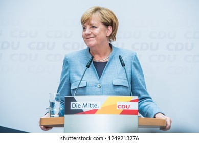 Berlin, Germany - September 25th 2017: Angela Merkel speaking the day after national elections.