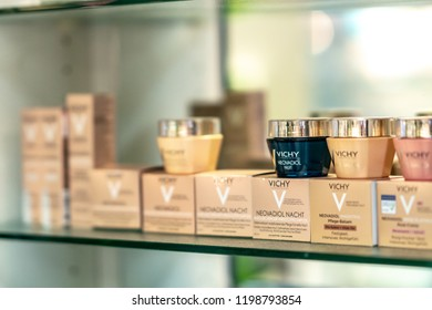 Berlin, Germany - September 30, 2018: Vichy products displayed on a pharmacy shelf. Vichy is a premium brand of skincare, bodycare, make-up and anti-aging products owned by L'Oréal