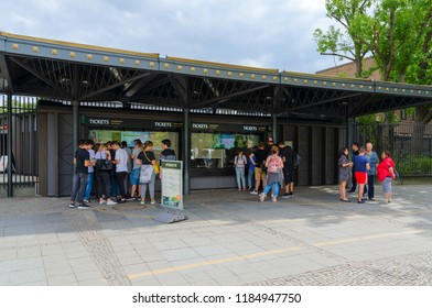 BERLIN, GERMANY - SEPTEMBER 5, 2018: Unknown tourists are at ticket offices near entrance to famous Berlin Zoo (Berlin Zoological Garden), which is located in Berlin's Tiergarten