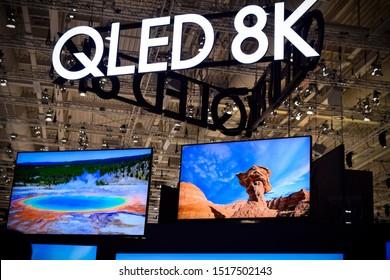 Berlin, Germany – September 5th, 2019: Samsung QLED 8k TV screens at IFA 2019