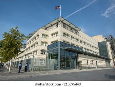 BERLIN, GERMANY - SEPTEMBER 6: the US American Embassy in Berlin Mitte, Germany, Europe sept 06 2014