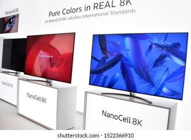 Berlin, Germany – September 6th, 2019: LG NanoCell 8K TVs displayed at IFA 2019
