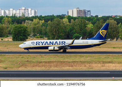 BERLIN, GERMANY - September 7, 2018: Ryanair, Boeing 737-8AS at Tegel airport in Berlin.