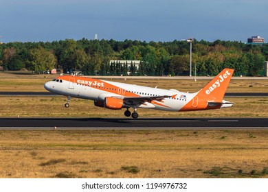 BERLIN, GERMANY - September 7, 2018:easyJet, Airbus A320-214 takes off from Tegel airport in Berlin.