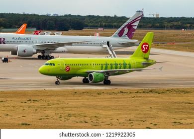 BERLIN, GERMANY - September 7, 2018:S7 Airlines, Embraer ERJ-170SU at Tegel airport in Berlin.