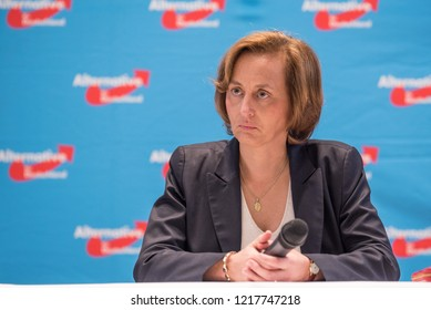 "Berlin, Germany - September 8th 2017: Beatrix von Storch speaking at a national election event of the Alternative for Germany Party ""AfD"" in Berlin Spandau."