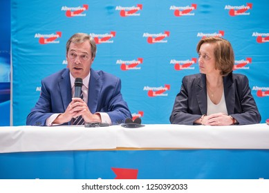 Berlin, Germany - September 8th 2017: Nigel Farage came to Berlin to speak with the AfD Party of Germany right before the national elections. Here you see photos of him at the conference.