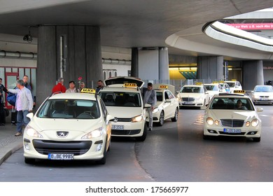 BERLIN, GERMANY - SEPTEMBER 9, 2013: Parking of the taxi cars at the Berlin Tegel international airport.