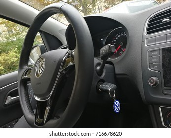 Berlin, Germany - September 9, 2017: Volkswagen steering wheel. Volkswagen is a German automaker founded in 1937, headquartered in Wolfsburg, Germany. It is the largest automaker worldwide currently