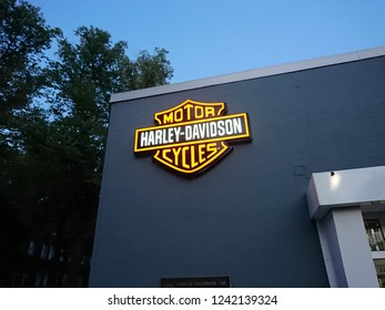 Berlin, Germany - September 9, 2018: Harley - Davidson motorcycle dealership exterior. Harley-Davidson, or Harley, is an American motorcycle manufacturer, founded in Milwaukee, Wisconsin, in 1903