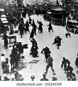 Berlin, Germany, street rioting during the period of general strike, 1919