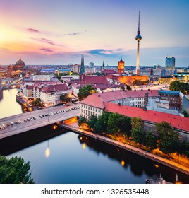 Berlin, Germany at sunset. Red City Hall, Television Tower. European capital cities.
