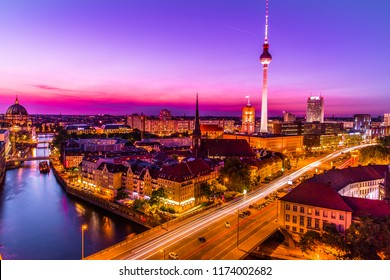 Berlin, Germany:06.02.2018:Aerial view of Berlin city and colorful Spree river at sunset in summer,  Berlin,Germany
