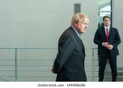 Berlin, Germany,2019-08-21:  Prime Minister Boris Johnson arrives at the press conference  at the chancellery in Berlin